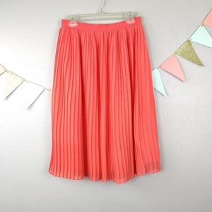 A New Day Pleated Neon Orange Lined Full Skirt